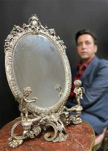 19th C. Large French Figural Silver-plated Mirror