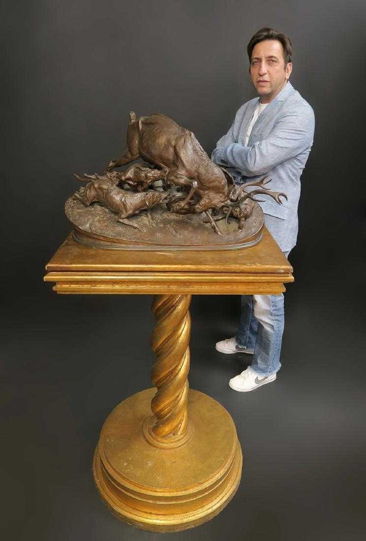 "19th C. French Bronze ""P.J Mene"" Animal Group Statue"