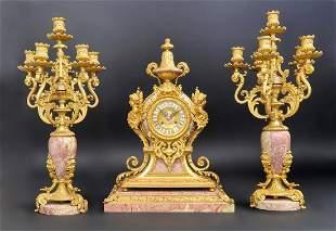 Beautiful 19th C Bronze Rouge Marble Clock Set