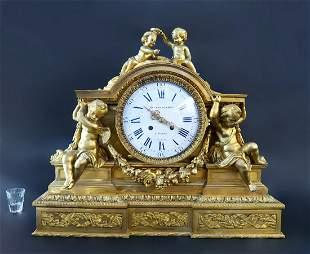 Fine Large Henri Picard Figural Bronze Clock