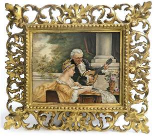 19th C KPM Plaque With Rococo Wooden Frame