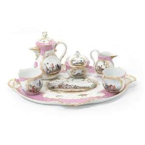 Rare 18th C. Meissen Porcelain Tea Service/Tray (6 Pcs)