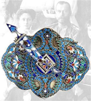Imperial Russian Silver 84 Enamel Belt Buckle Brooch
