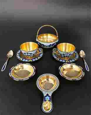 Magnificent Russian Silver gilt & Enamel Tea Set