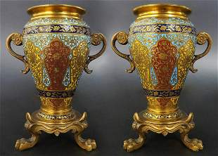 PAIR OF MINIATURE FRENCH GILT BRONZE/CHAMPLEVE/ENAMEL