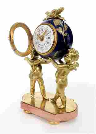 French Figural Bronze Porcelain Jeweled Clock