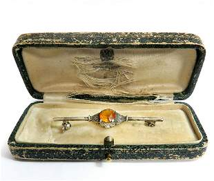 19th C Faberge Silver 84 Garnet Russian Brooch