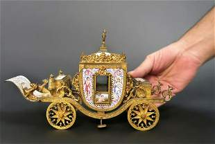Very Large Viennese Enamel Bronze Carriage