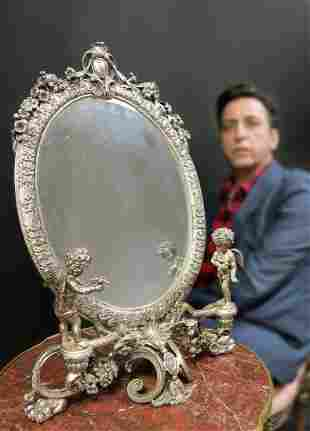 19th C Large French Figural Silverplated Mirror