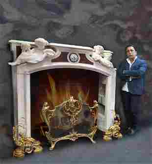 19th C Grand Figural Marble Fireplace Mantel