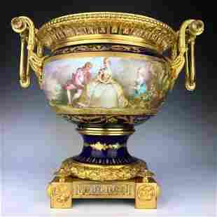 19th C French Bronze Porcelain Centerpiece