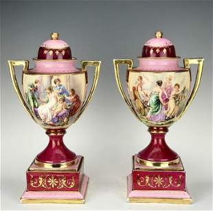 19th C Pair of Royal Vienna Hand Painted Vases