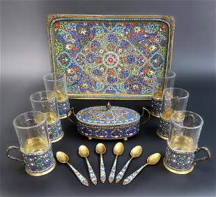 RussianPersian Enamel Silver Tea Set