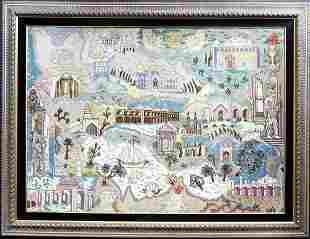 A Large Framed Iran Map Persian Rug from Tabriz