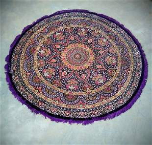 100 Silk Large Round Persian Rug from Qom