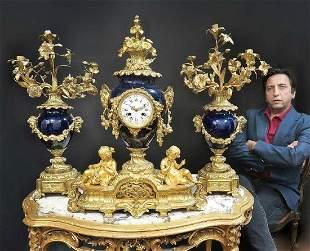 Large French Figural Bronze Porcelain Clock Set