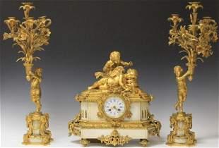 FRENCH BRONZE THREE PART FIGURAL CLOCK SET