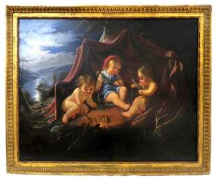 Large 18th C Painting On Canvas by William Hamilton