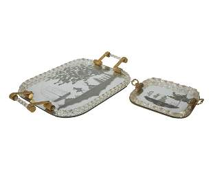 Set of Two Venetian Etched Mirror Dresser Trays