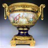 19th C. French Bronze & Porcelain Centerpiece
