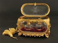 19th Century Baccarat Perfume Bottles Casket