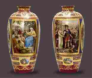A Pair of 19th C. KPM Vases, Height 26 1/3