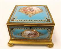 Large French Jeweled Enamel Box or casket 19th C
