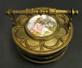 Cobalt Blue Hand Painted French Sevres Style Box Casket
