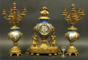 19th C. French Bronze And Sevres Porcelain Clock Set