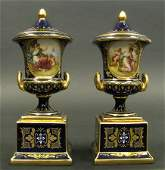 Pair of Hand Painted Royal Vienna Urns