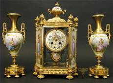 19th C. French Sevres Hand Painted Clock Set