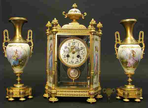 th C. French Sevres Hand Painted Clock Set