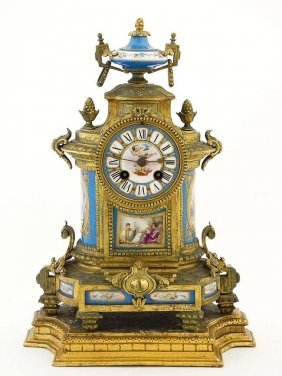19th C. French Blue Sevres Mantel Clock