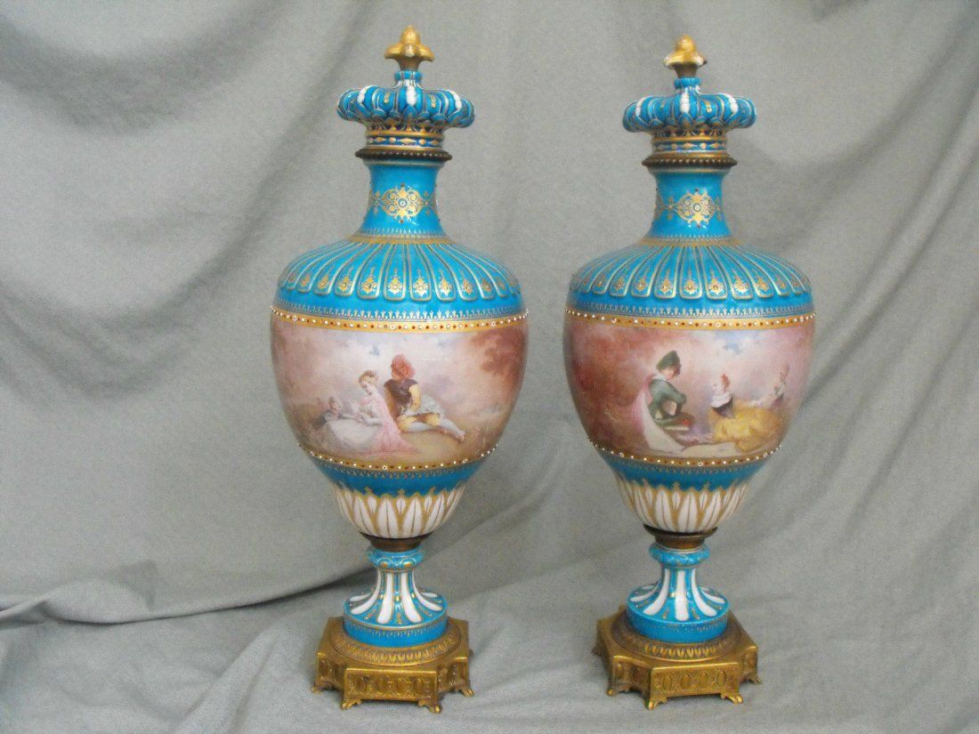 Pair of 19th C. Sevres Enameled Bronze Porcelain Urns