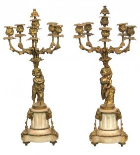 Pair Of Bronze And Marble Candelabra With Cupids