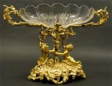 19th C. Bronze and Crystal Centerpiece by Henri Picard