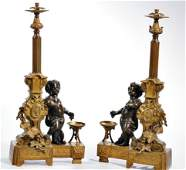 Large Pair of 19th C. Gilt and Patinated Bronze Chants