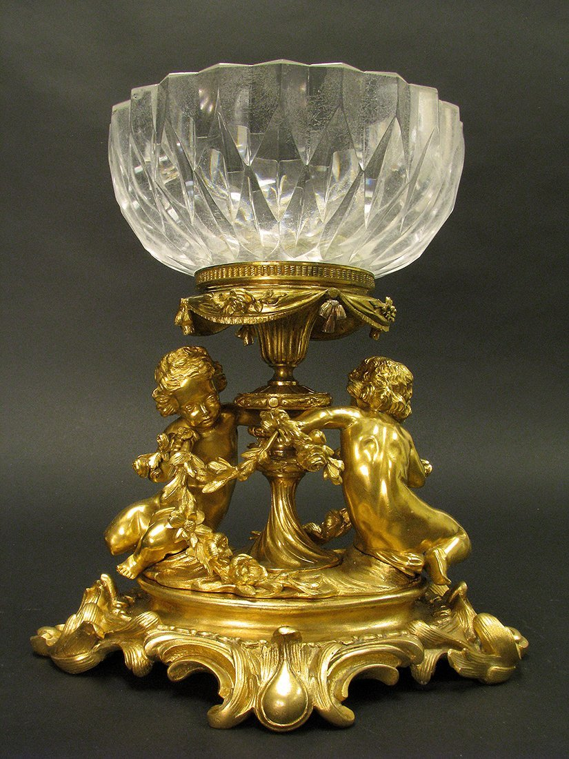 19th C. Henri Picard Bronze Crystal Centerpiece
