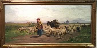 19th C Oil on Canvas Painting signed A. de Simoni