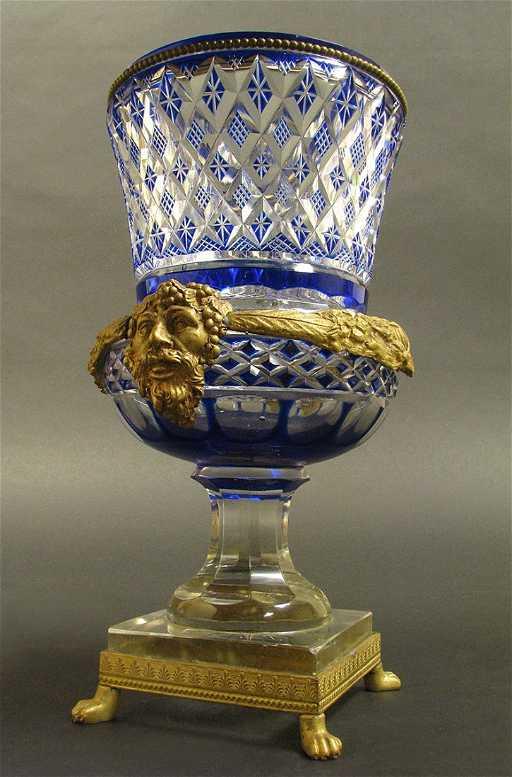 19th C Austrian Bronze And Blue Cut Crystal Vase