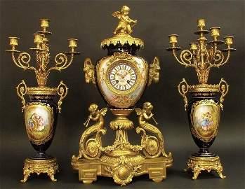 Massive Very Fine 19th C. Cobalt Blue Sevres Clock Set