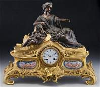 Large 19th C Bronze and Sevres Style Mantle Clock