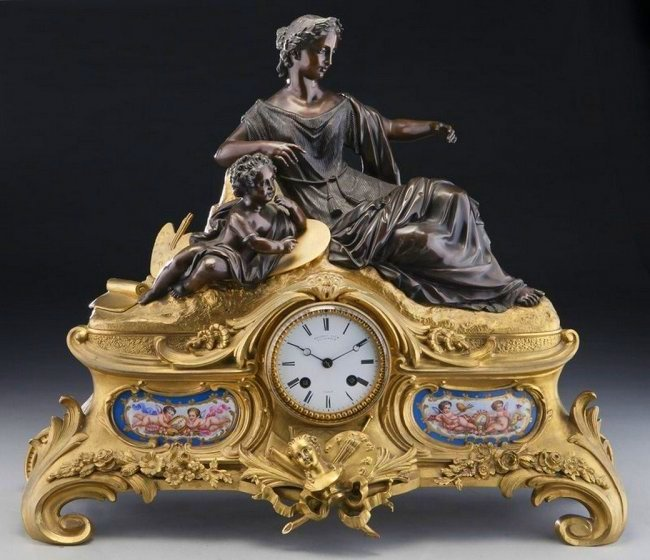 Large 19th. C Bronze and Sevres Style Mantle Clock