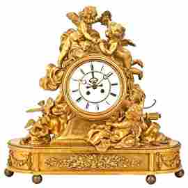 Exceptional Large Gilt-Bronze Figural Mantel Clock
