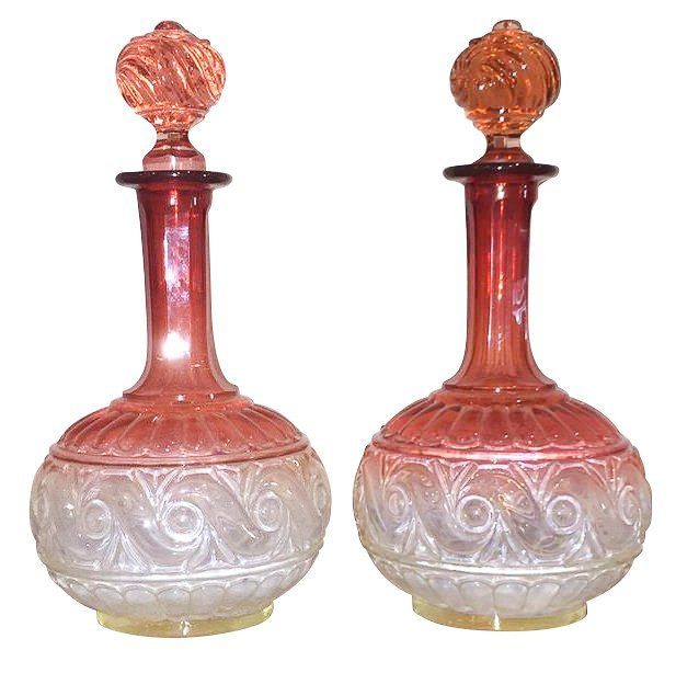 Pair Of 19th C. Baccarat Rose Glass Decanters