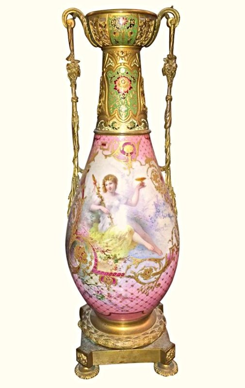 Large 19th C. French Sevres & Champleve' Vase 20''