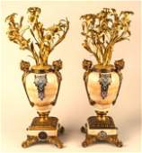 Pair of Champleve Onyx and Bronze Candelabra 19th C.