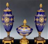 Magnificent 19th C. Sevres Jeweled Garniture Vases Set