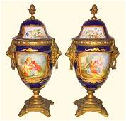 Nice Pair Of 19th C French Sevres Capped