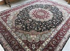 Large Hand Knotted Oriental Wool  Silk Carpet IndoP